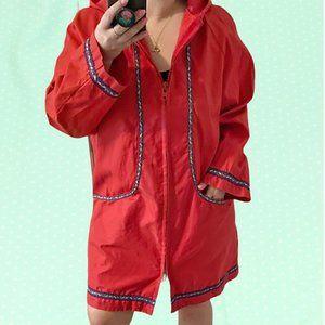 Vintage 70's long red hooded spring coat
